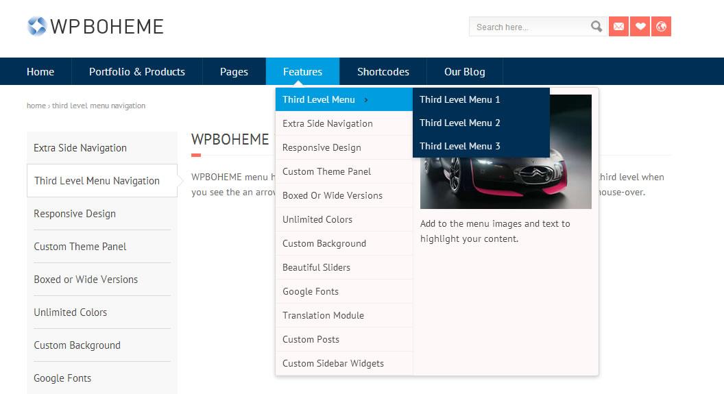 third level menu navigation