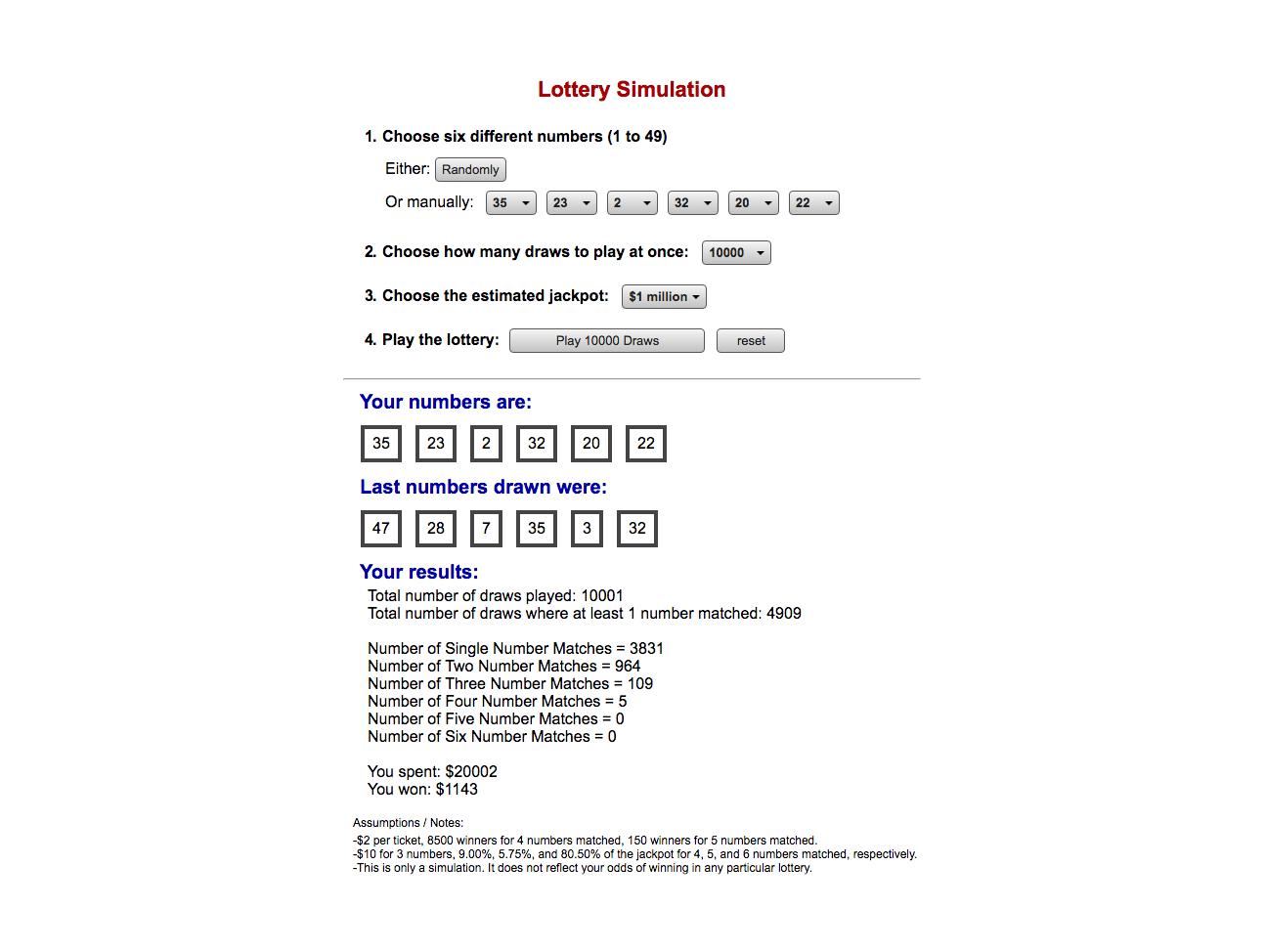 Lottery Simulation